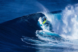 A man riding a wave