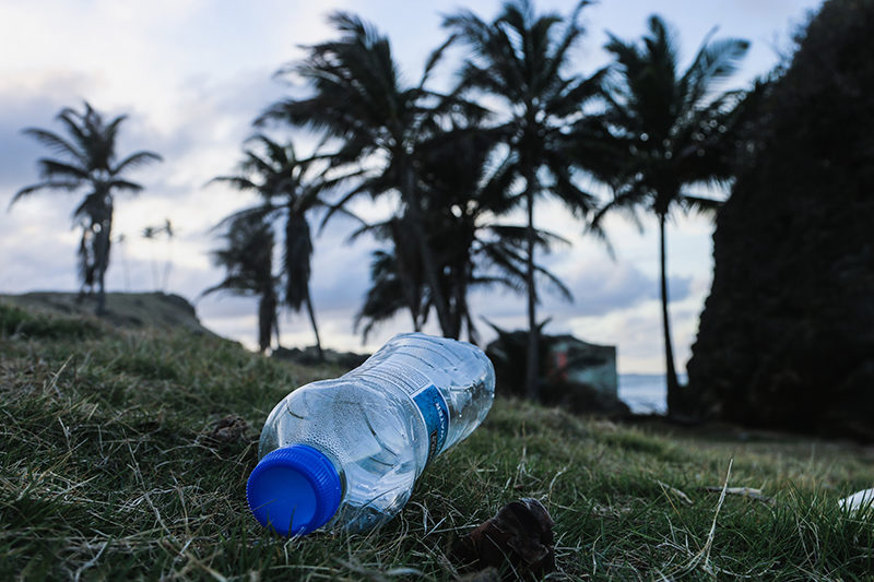 A plastic water bottle on the beach